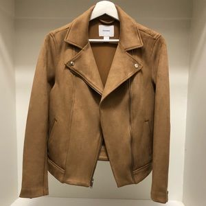 Old Navy Sueded Knit Moto Jacket in Caramel Small